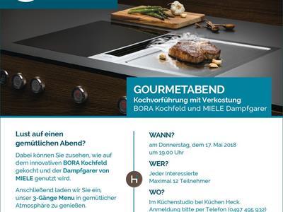 Gourmetabend In Unserem Küchenstudio Mitzuerleben: Das Bora Kochfeld Und  Der Miele Dampfgarer Werden Genutzt Und Anschließend Wird Alles Verkostet!